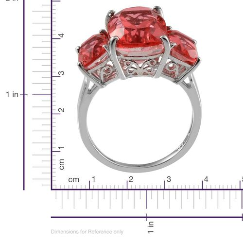 Padparadscha Colour Quartz (Cush 7.75 Ct) 3 Stone Ring in Platinum Overlay Sterling Silver 10.750 Ct.