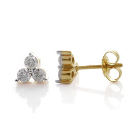 9K Yellow Gold SGL Certified Diamond (Rnd) (I3/G-H) Stud Earrings (with Push Back) 0.250 Ct.