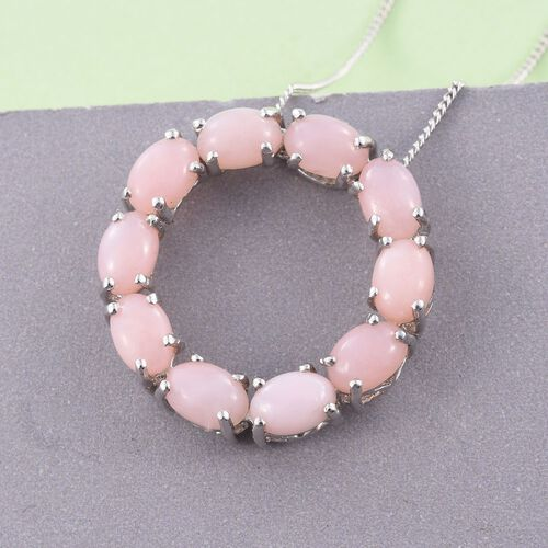 Natural Peruvian Pink Opal (Ovl) Circle of Life Pendant With Chain in Platinum Overlay Sterling Silver 4.000 Ct.