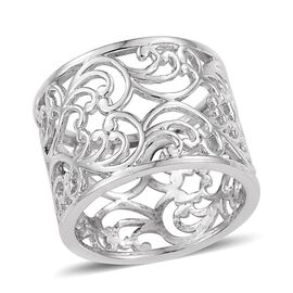Platinum Overlay Sterling Silver Filigree Band Ring, Silver wt 5.60 Gms.