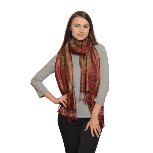 Silk Mark - 100% Super Fine Silk Peacock, Red and Multi Colour Floral and Paisley Pattern Potters Clay Colour Jacquard Jamawar Scarf with Fringes (Size 180x70 Cm) (Weight 125 - 140 Gms)