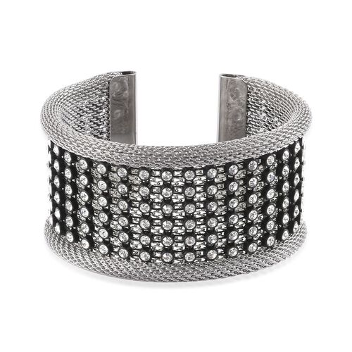 White Austrian Crystal Studded Mesh Cuff Bangle (Size 7.5) in Grey Tone