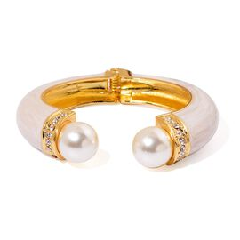AAA White Austrian Crystal and Simulated Pearl White Colour Open Bangle (Size 7) in Gold Tone