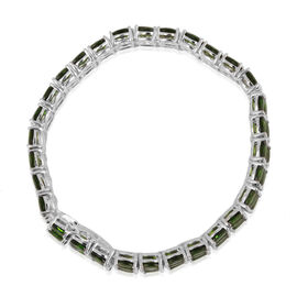 Russian Diopside (Ovl) Bracelet in Platinum Overlay Sterling Silver (Size 7.5) 46.750 Ct.
