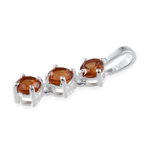 Ratnapura Hessonite Garnet (Rnd) Trilogy Pendant in Sterling Silver 0.750 Ct.