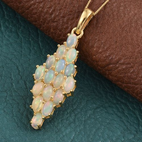 Ethiopian Opal (Ovl) Cluster Pendant with Chain in 14K Gold Overlay Sterling Silver 2.500 Ct.