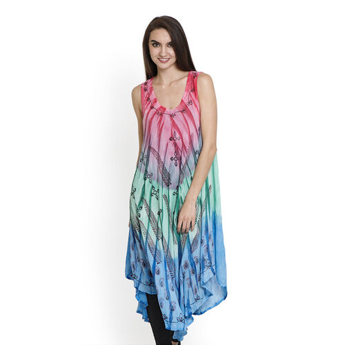Summer Collection- Midi Length Paisley Pattern Pink, Blue and Green Colour Dress (Free Size)
