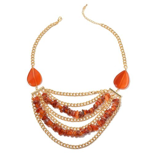 Dyed Red Agate Necklace (Size 20 with Extender) in Gold Tone 400.000 Ct.