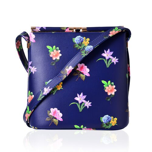 Navy and Multi Colour Floral Pattern Clutch Bag with Shoulder Strap (Size 22x21.5x14 Cm)