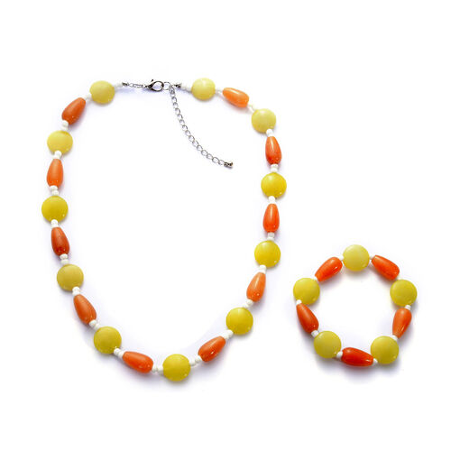 Lime Green, Enhanced Quartzite and White Glass Necklace (Size 20 inch with Extender) and Bracelet (Size 7.5) in Stainless Steel 73.000 Ct.