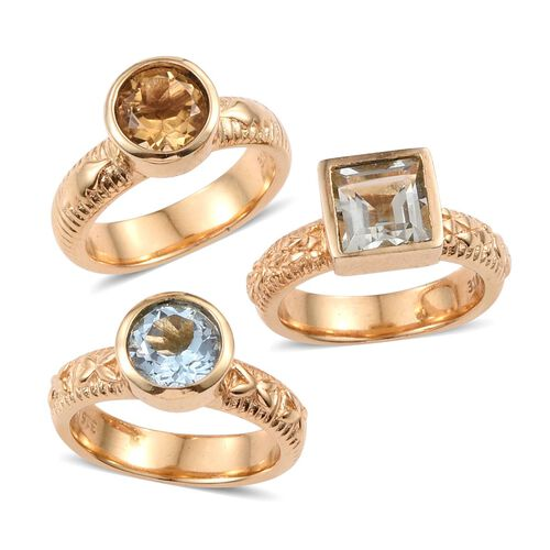 Set of 3 - Green Amethyst (Sqr and Rnd), Sky Blue Topaz and Citrine Solitaire Ring in ION Plated Yellow Gold with Stainless Steel 12.750 Ct.