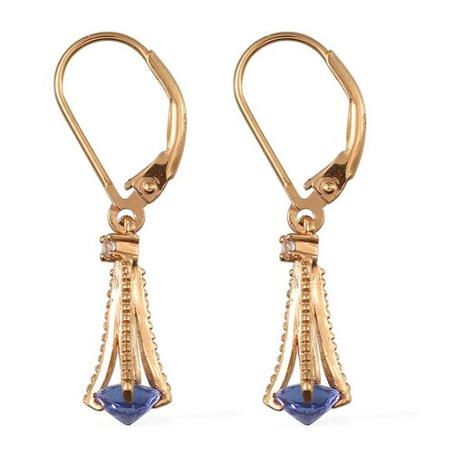 Tanzanite (Trl), White Topaz Lever Back Earrings in 14K Gold Overlay Sterling Silver 1.100 Ct.