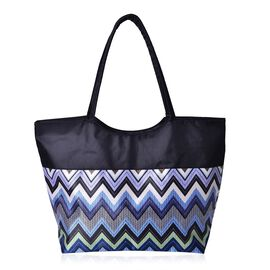 Multi Colour Zigzag Pattern Black Colour Tote Bag (Size 52X38X32X15.5 Cm)