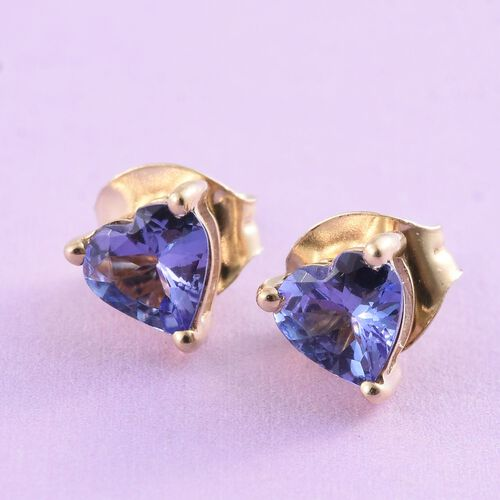 9K Yellow Gold 0.75 Carat AA Tanzanite Heart Solitaire Stud Earrings with Push Back