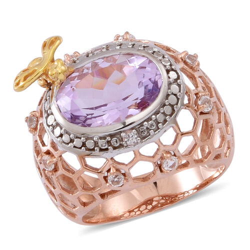 Rose De France Amethyst (Ovl 5.50 Ct), White Topaz Ring in 14K Rose Gold and Yellow Gold Overlay Sterling Silver 6.000 Ct.