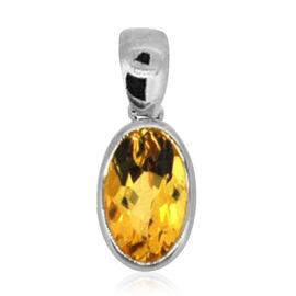 ILIANA 18K W Gold Yellow Sapphire (Ovl) Solitaire Pendant 1.750 Ct.