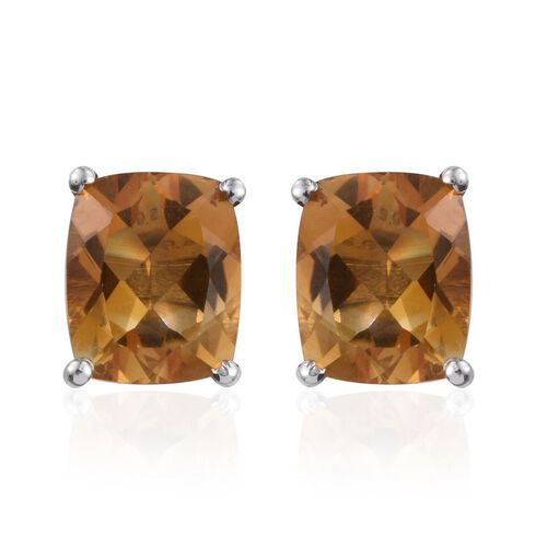 Citrine (Cush) Stud Earrings (with Push Back) in Platinum Overlay Sterling Silver 7.000 Ct.
