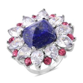 Lapis Lazuli, Rose Pink Austrian Crystal and Simulated White Diamond Ring in Stainless Steel 16.000 Ct.