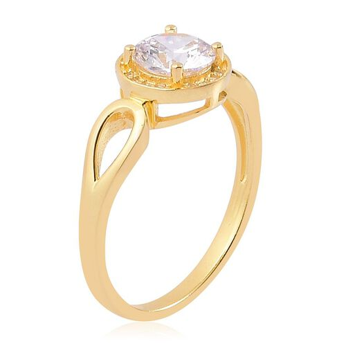 AAA Simulated White Diamond Ring in Yellow Gold Overlay Sterling Silver