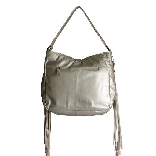 Designer Inspired- 100% Genuine Leather RFID Blocker Metallic Golden Colour Handbag with Tassels and External Zipper Pocket (Size 33X29X10 Cm)