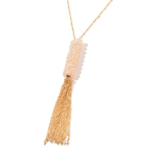 White Austrian Crystal Necklace (Size 30 with 2 inch Extender) in Gold Tone