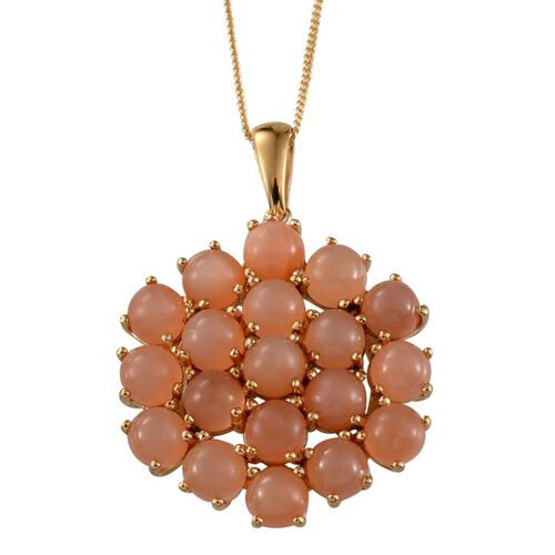 Mitiyagoda Peach Moonstone (Rnd) Cluster Pendant With Chain in Yellow Gold Overlay Sterling Silver 9.750 Ct.