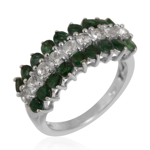 Kagem Zambian Emerald (Rnd), White Topaz Ring in Platinum Overlay Sterling Silver 1.750 Ct.
