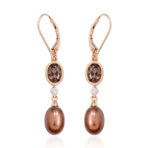Close Out Deal 14K Y Gold Fresh Water Pearl, Brazilian Smoky Quartz and Diamond Lever Back Earrings 3.216 Ct.