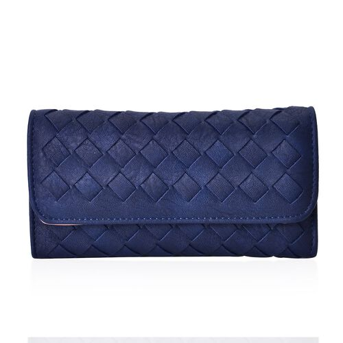 Celina Classic Navy Intrecciato Textured Wallet And Cardholder Set (Size 19x10x2.5 Cm and 10.5x8x2.5 Cm)