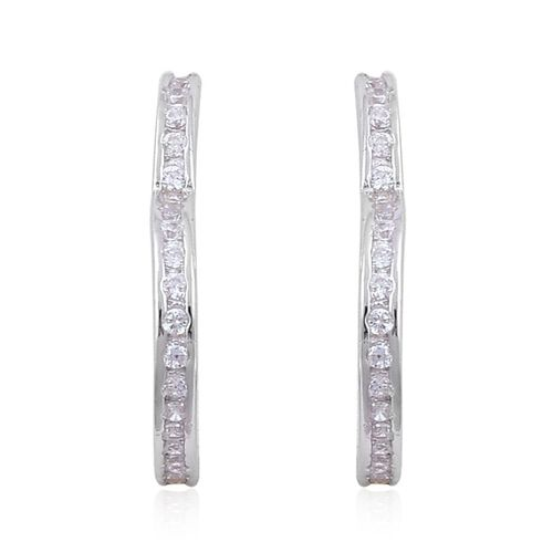 AAA Simulated White Diamond Earrings (with Push Back) in Rhodium Plated Sterling Silver