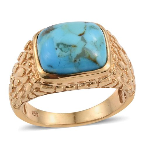 Arizona Matrix Turquoise (Cush) Solitaire Ring in 14K Gold Overlay Sterling Silver 4.500 Ct.