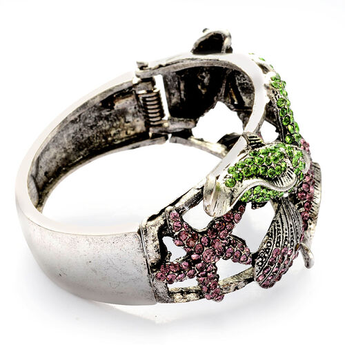Green, Purple and Black Austrian Crystal Bangle (Size 7.5) in Silver Tone