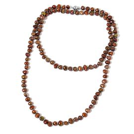 Fresh Water Chocolate Pearl Necklace (Size 36) in Silver Tone