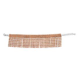 Champagne Colour Austrian Crystal Bracelet in Silvertone (Size 7.5)