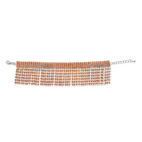 Champagne Colour Austrian Crystal Bracelet in Silvertone (Size 7.5)