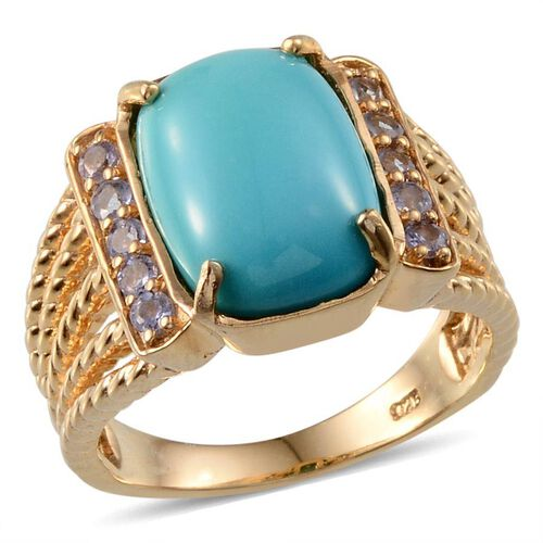 Arizona Sleeping Beauty Turquoise (Cush 5.00 Ct), Tanzanite Ring in 14K Gold Overlay Sterling Silver 5.500 Ct.