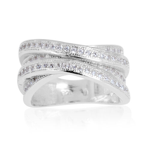 AAA Simulated White Diamond (Rnd) Criss Cross Ring in Rhodium Plated Sterling Silver