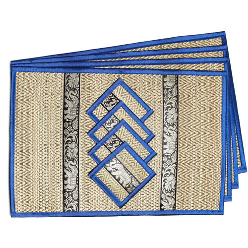 Traditional Thai Pattern Monaco Blue Bamboo Wicker Placemat (12x18) and Coaster (5x5) Set