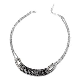 Black Enameled White Austrian Crystal Necklace (Size 20 with Extender) in Silver Tone