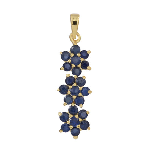 Kanchanaburi Blue Sapphire (Rnd) Triple Floral Pendant in 14K Gold Overlay Sterling Silver 2.000 Ct.