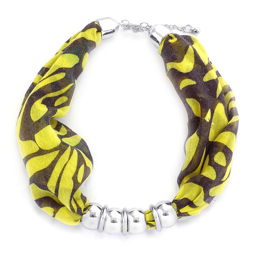 Yellow Zebra Pattern Scarf Necklace (Size 45 Cm)