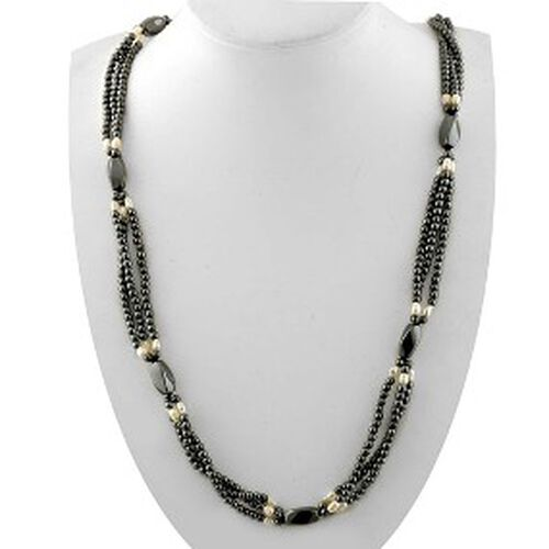 Hematite, Fresh Water White Pearl Necklace (Size 35)  510.000  Ct.