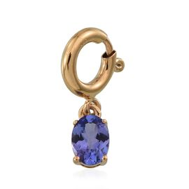 Tanzanite (Ovl) Charm in 14K Gold Overlay Sterling Silver 0.850 Ct.