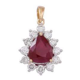 ILIANA 18K Y Gold Rare Size AAAA Burmese Ruby (Pear 2.75 Ct), Diamond Pendant 3.750 Ct.