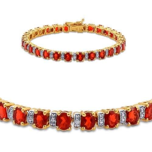 Jalisco Fire Opal (Ovl), Diamond Bracelet in 14K Gold Overlay Sterling Silver (Size 7) 6.510 Ct.