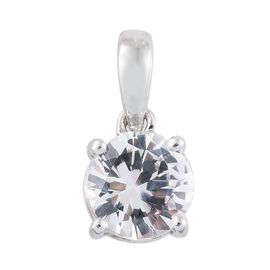 ILIANA 18K White Gold 1 Carat AAA Natural White Sapphire Round Solitaire Pendant.