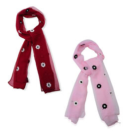 Set of 2 - Black and White Flower Pattern Red and Pink Colour Scarf (Size 165x75 Cm)