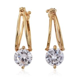 ELANZA AAA Simulated Diamond (Rnd) Hoop Earrings (with Clasp) in 14K Gold Overlay Sterling Silver