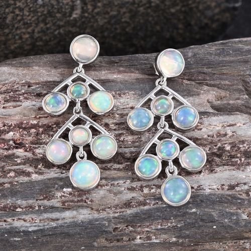 AA Ethiopian Welo Opal (Rnd) Earrings in Platinum Overlay Sterling Silver 4.750 Ct.