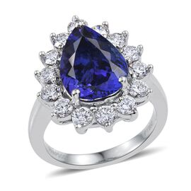 RHAPSODY 950 Platinum AAAA Tanzanite (Pear 5.65 Ct), Diamond Ring 7.250 Ct.